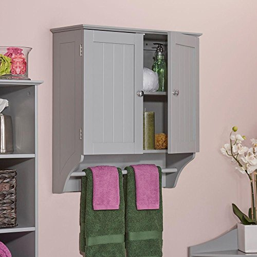Ashland 23-4/5 in. W x 25-2/5 in. H x 8-43/50 in. D 2-Door Bathroom Storage Wall Cabinet in Gray
