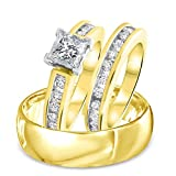 Smjewels 1.85 Ct Princess & Round Diamond Yellow Gold Fn Engagement Trio Ring Wedding Set