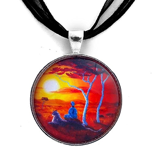 African Sunset Meditation with Woman and Leopard Handmade Pendant