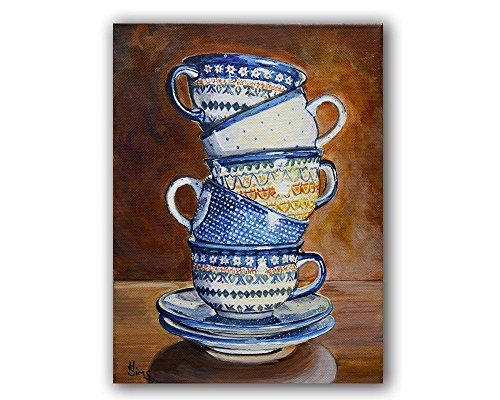 Polish Pottery Coffee Kitchen Decor Stacked Tea Cups Art Print 8x10 inch Matted Fits 11x14 frame