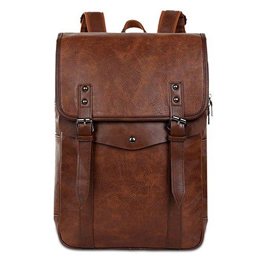 Vbiger Men Vintage PU Leather Backpack Laptop Backpack School Bookbag for Men