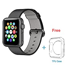 Apple Nylon Watchbands,Eoso 2016 Newest Fine Woven Nylon Strap Replacement Wrist Band for iWatch(Nylon Black,42mm)