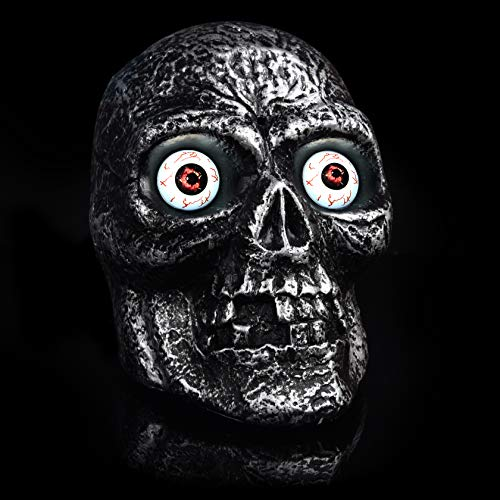 Halloween Indoor & Outdoor Decoration Motion Sound Activated Skull with Glowing Eyes and Creepy Sounds -