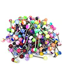 100Pcs 14G Tongue Rings Assorted Surgical Stainless Steel Barbells Body Piercing Jewelry