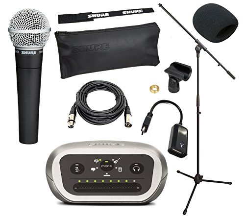 Shure Mobile iOS & Android Recording Studio Kit With Shure SM58 Vocal Microphone, Shure MVi Digital Audio Interface, On-The-Go USB Cable, 20-Foot XLR Cable, Windscreen, & A25D Clip (With Boom Stand) by Shure