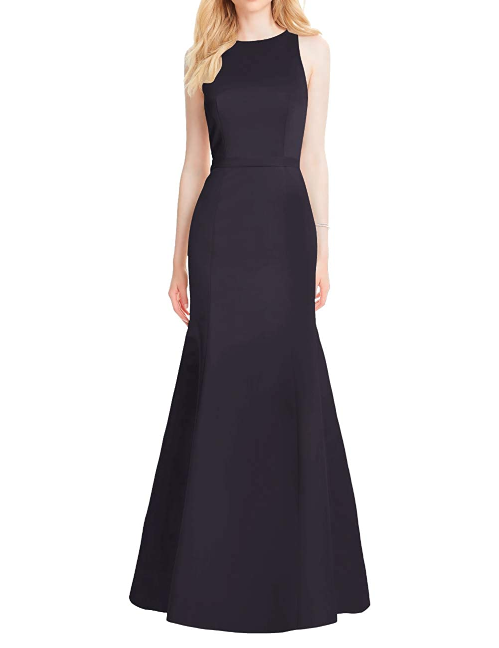Navy Mermaid Prom Dresses Long Satin Evening Formal Gowns Backless Maxi Party Dress