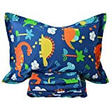 Brandream Soft Kids Boys Bedding Sets Blue Dinosaur Sheets Set 100% Cotton Bed Sheet Set-Fitted Sheet Flat Sheet Shams Set-Twin Size