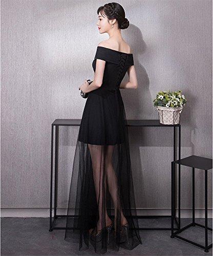 Les Femmes Drasawee Élégant Épaule Large Robe Longue Maxi Tuttle Noir Pour Cocktail, Soirée, Banquet