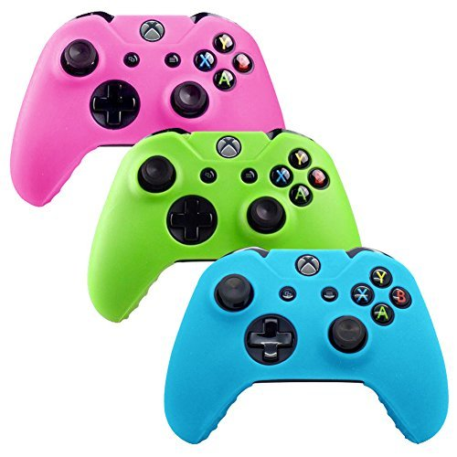 YTTL®3 Pack Glow in Dark Silicone Gel Rubber Grip Protective Case Skin Cover For Microsoft Xbox One Wireless Controller - Blue/ Green/ Pink