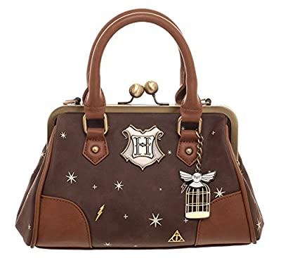 Bioworld Harry Potter Celestial Kiss Lock Handbag, Brown and Gold