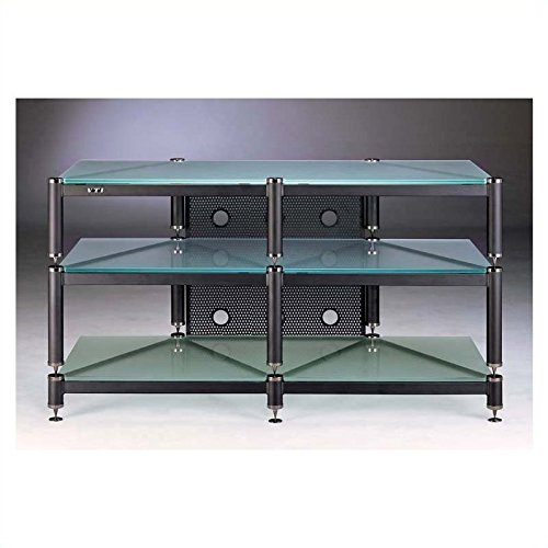 BLG Series TV Stand in Black w Frosted Glass Shelves by VTI
