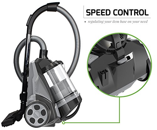 Ovente ST2620B Bagless Canister Cyclonic Vacuum - HEPA Filter - Includes Pet/Sofa, Bendable Multi-Angle, Crevice Nozzle/Bristle Brush, Retractable Cord - Featherlite, Black