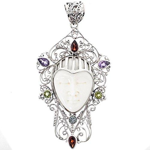 Buffalo Bone Goddess Peridot Amethyst Garnet Filigree 925 Sterling Silver Pendant, 2 -