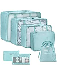 Packing Cubes for Travel-7Pcs Travel Cubes Set Foldable Suitcase Organizer Lightweight Luggage Storage Bags (Blue)