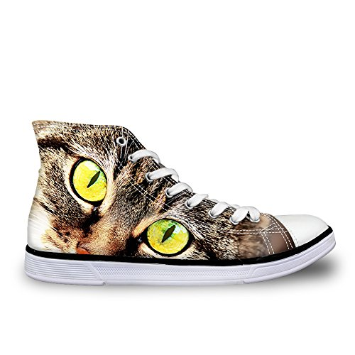 HUGS IDEA HUGSIDEA Yellow Eyes Patten Womens Mens High Top Canvas Shoes Casual Unisex Couple Sneakers US8 1OlOUgn