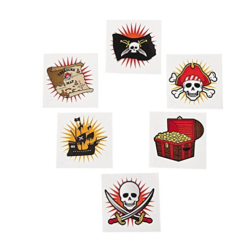 Fun Express Pirate Themed Temporary Tattos - 72 Piece -