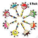 6 Pcs Vivid Color Smile Rainbow Handle Wooden Bells Jingle Stick Shaker Rattle Baby Kids Children Musical Toys