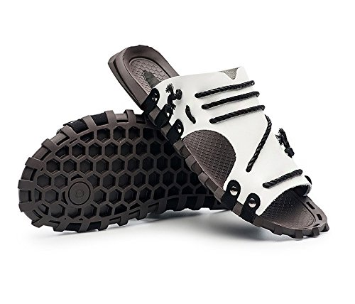 Verano Sandalias de gran tamaño de los nuevos sandalias del patrón de los zapatos de las sandalias del ocio de las sandalias libremente antideslizante, blanco, Reino Unido = 9, UE = 43 1/3