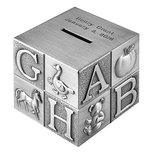 Personalized Keepsake Bank - Creative Gifts International Children's ABC Block Custom Engraved Piggy Bank - Brushed Nickel Personalized