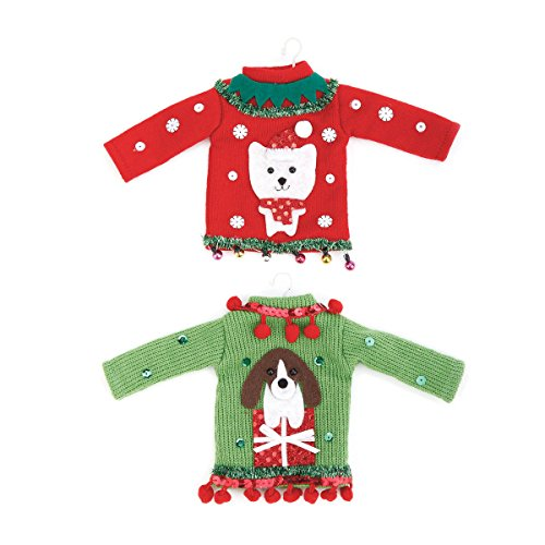 Demdaco Pet Ugly Sweater Ornaments Set of 2