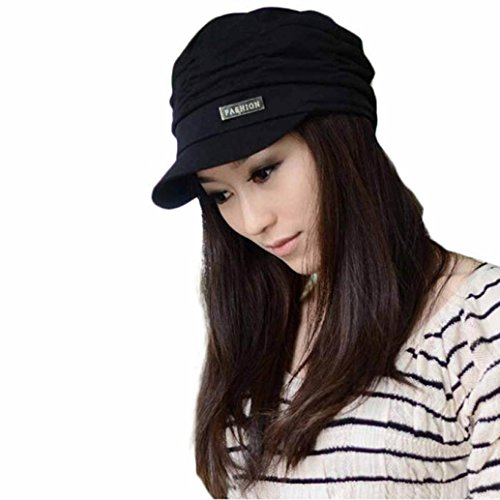 DEESEE(TM) Beanie Hat Bouffancy Unisex Army Military Cap Flat -Top Hat Student Hat Vintage (Black) (Army Knit Black Cap)