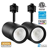 2 PACK 17.5W (85W Equiv.) Integrated CRI90+ LED Black Track Light Head, Dimmable 38° Spotlight Track Light, 1200lm ENERGY STAR ETL-Listed for Accent Task Wall Art Exhibition Lighting, 3000K Warm White
