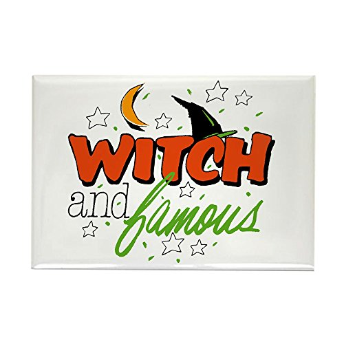(Rectangle Magnet Halloween Witch and Famous Hat )