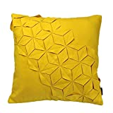 Is There a Bigger Bed Than a King Size Soft Time Handmade Three-dimensional stereoscopic Decorative Emboidery Throw Pillow Case Cushion Comfortable Pillow Cover for Room Home Office Bed Chair Couch Sofa (Yellow, 18