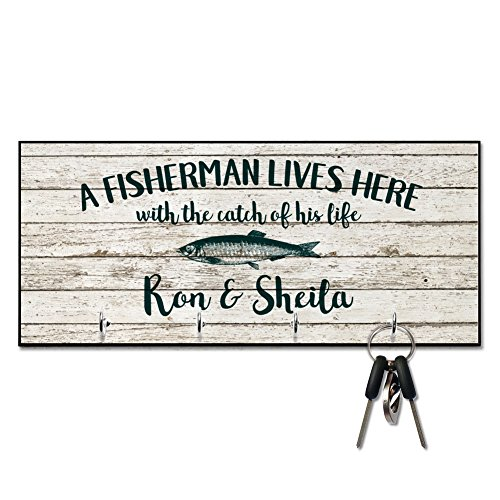 A Fisherman Lives Here Key Hanger - Personalized