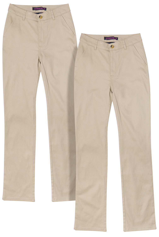 French Toast Junior Girls' School Uniform Stretch Straight Leg Twill Pants (2 Pack), Khaki, Size 11'