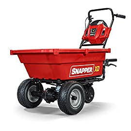 Snapper XD SXDUC82 82V Cordless Self-Propelled Utility Cart with 3.7 cu. ft. Cargo Bed 65 Up to 3 hours (180 minutes) run time with the 2.0Ah Briggs & Stratton 82V Lithium ion battery (charger and battery sold separately) 3.7 cu ft rust resistant cargo bed capacity Fold away Steel hitch for towing at speeds of up to 6 mph