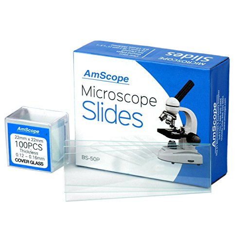 AmScope BS-50P-100S-22 Pre-Cleaned Blank Ground Edge Glass Microscope Slides and 100pc Pre-Cleaned Square Glass Cover Slips Coverslips (Glass Cover Slide)