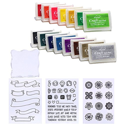 (DECORA 15pcs Ink Pads and Clear Stamps Work with Stamp)
