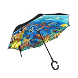 My Little Nest Underwater Fishes Coral Reef Reverse Umbrella Windproof Sun Rain Double Layer inverted Car Umbrella with C-Shaped Handle