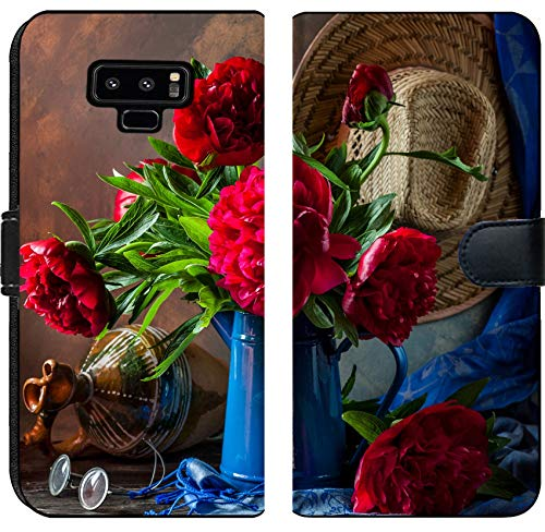 (Samsung Galaxy Note 9 Flip Fabric Wallet Case Image 30313840 Pink Peonies Still Life)