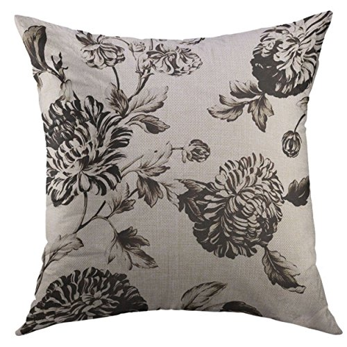 Mugod Pillow Cover Pretty Antique White Black Botanical Floral Toile No Flowers Home Decorative Throw Pillow Cushion Cover 16x16 Inch Pillowcase