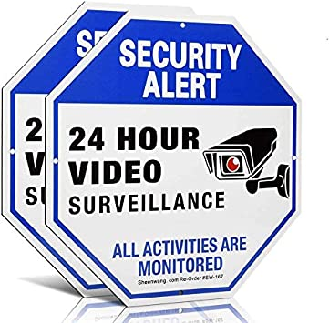sheenwang 2-Pack Security Camera Sign, Video Surveillance Signs Outdoor, UV Printed 40 Mil Rust Free Aluminum 10 X 10 in, Weatherproof and Heavy Duty Security Signs for Home or Business
