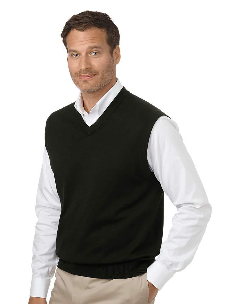 Paul Fredrick Men's Pima Cotton V-Neck Pullover Sweater Vest Black XL by Paul Fredrick