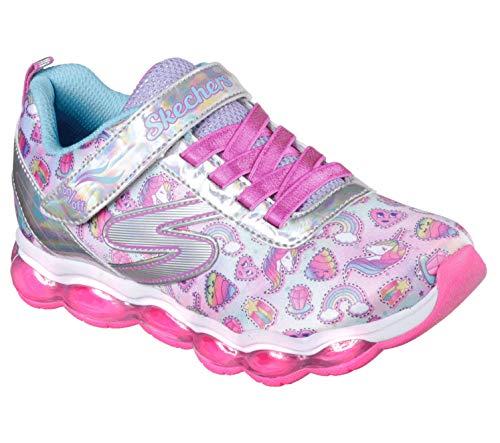 (Skechers Kids Girls' Glimmer Lights-Sparkle Dreams Sneaker, Silver/Multi, 12.5 Medium US Little kid)
