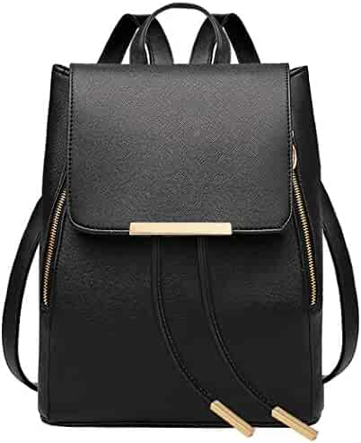 COOFIT Black Faux Leather Backpack for Girls Schoolbag Casual Daypack