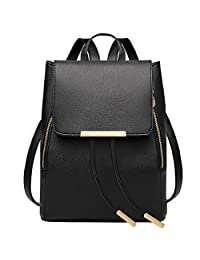 Black Leather Backpack,Coofit Ladies Backpack for Women Girls