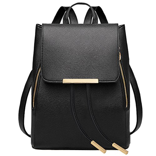 COOFIT Black Faux Leather Backpack for Women Schoolbag Casual - Black Fashionable Leather
