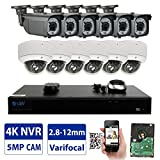 GW 16 Channel 4K NVR 5MP Video Security Camera System - 6 x Bullet & 6 x Dome 5MP 1920P Weatherproof 2.8-12mm Varifocal Cameras, Realtime Recording 1080p @ 30fps, Pre-Installed 4TB HDD