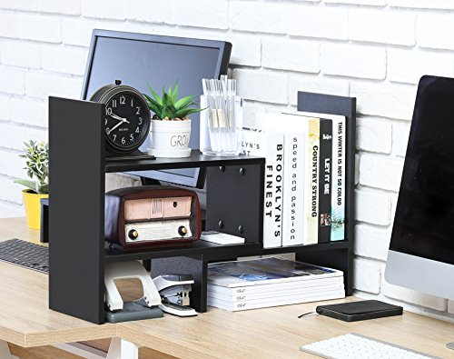FITUEYES Desktop Organizer Office Storage Rack Adjustable Wood Display Shelf - Free Style Display True Natural Stand Shelf Rack Counter Top BookcasShelf Rack Counter Top Bookcase DT306801WB by FITUEYES (Image #7)