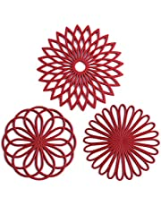 Set of 3 Silicone Trivet Mat - Hot Pot Holder Hot Pads for Table & Countertop - Trivet for Hot Dishes - Non-Slip & Heat Resistant Modern Kitchen Hot Pads for Pots & Pans,Merlot Red