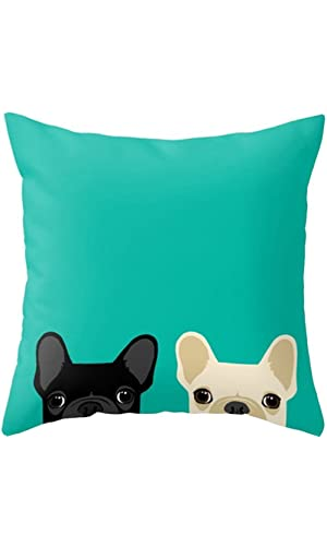 Yoler Pillow Case Decorative Cute Puppies Art Outdoor Sofa Cushion Satin Bright Colorful Painting Pillowcases