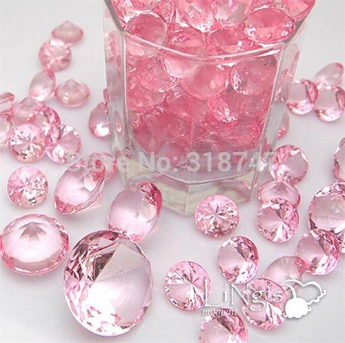 576pcs/lot Mixed Sizes gems Wedding Party confetti Crystal Diamond Culet Faceted (Pink)