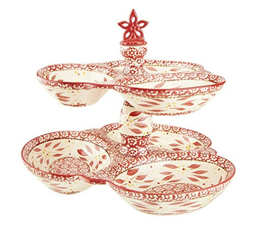 Temp-tations Old World Figural 2-tier Serving Tray w/ Flower Finial - Old World Red