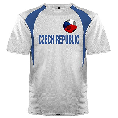 Custom Czech Republic Soccer Ball 1 Jersey Adult Large in White and Royal Blue