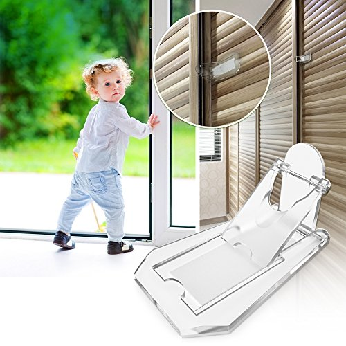 Sliding Door Lock, Baby Proof Closets, Window Locks for Children, Clear, 4 (Sliding Closet Door Locks)